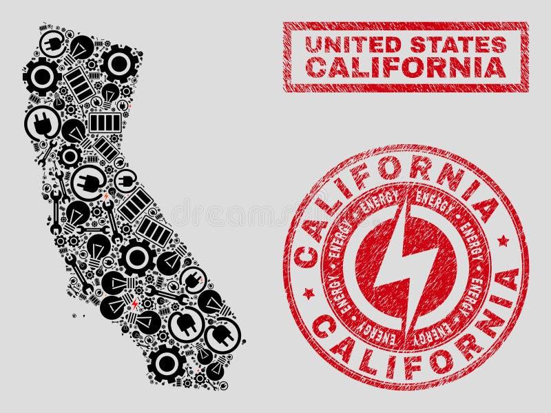 Elektrisk mosaisk Kalifornien statöversikt och snö och texturerade stämpelskyddsremsor royaltyfri illustrationer