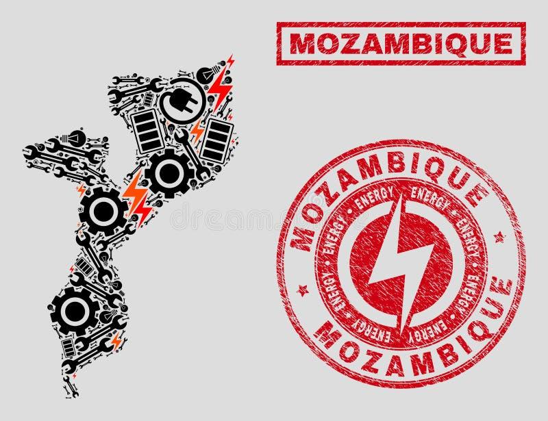 Elektrisk mosaisk Mocambique översikt och snö och skrapade stämplar stock illustrationer
