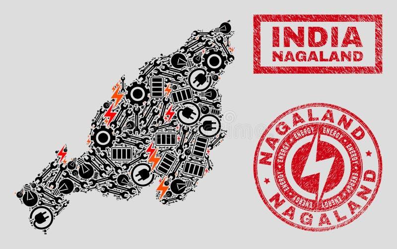 Elektrisk mosaisk Nagaland tillståndsöversikt och snö och skrapade skyddsremsor stock illustrationer