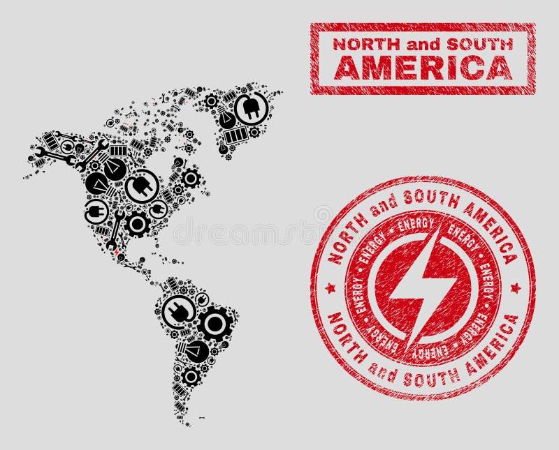 Elektrisk mosaisk söder- och Nordamerika översikt och snöflingor och nödlägeskyddsremsor vektor illustrationer