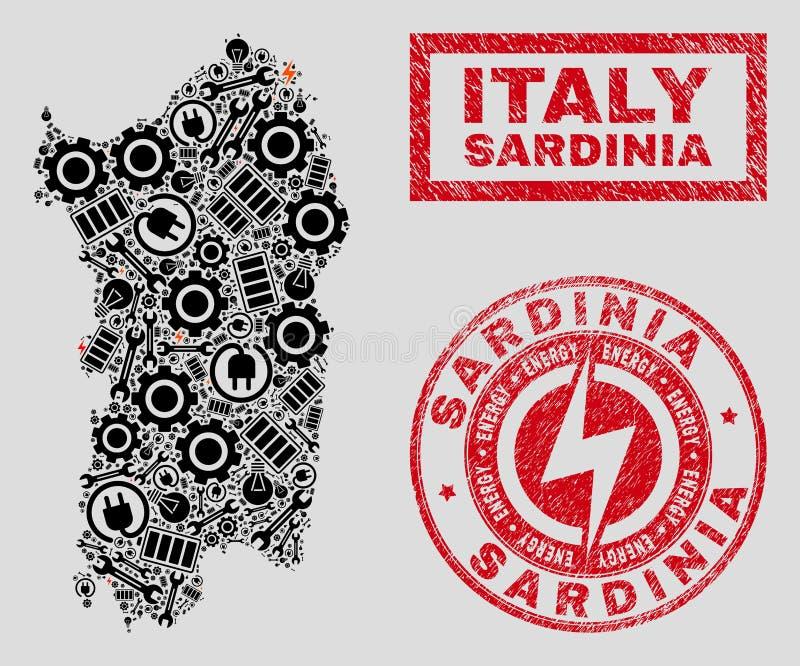 Elektrisk mosaisk Sardinia översikt och snöflingor och nödlägeskyddsremsor stock illustrationer