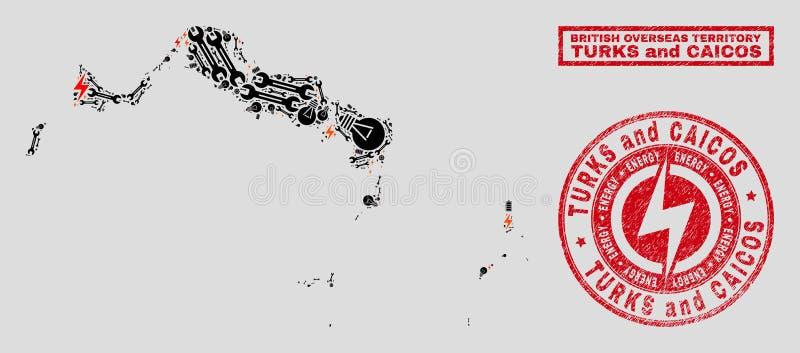 Elektrisk mosaisk Turks- och Caicosöarna översikt och snö och skrapade stämpelskyddsremsor stock illustrationer