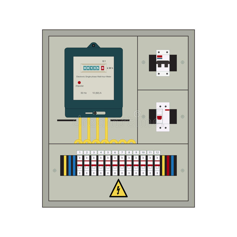 Elektrisk panel, ask vektor illustrationer