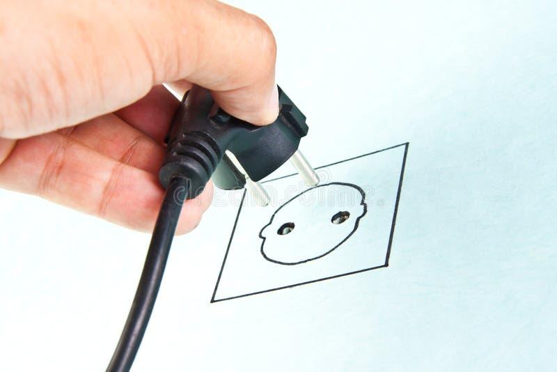 elektrisk plugga skissa stickkontakt för kabel till arkivbilder