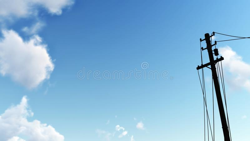 Elektrisk polkontur mot blå himmel royaltyfri fotografi