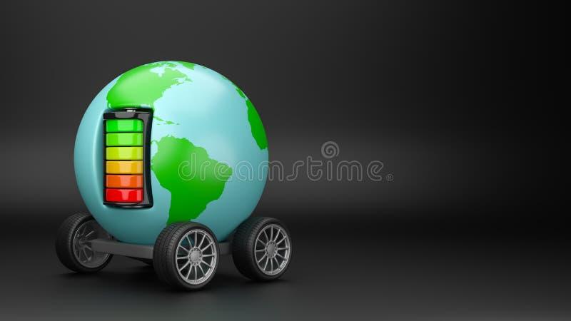 Elektrisk rörlighet för värld med Copyspace stock illustrationer