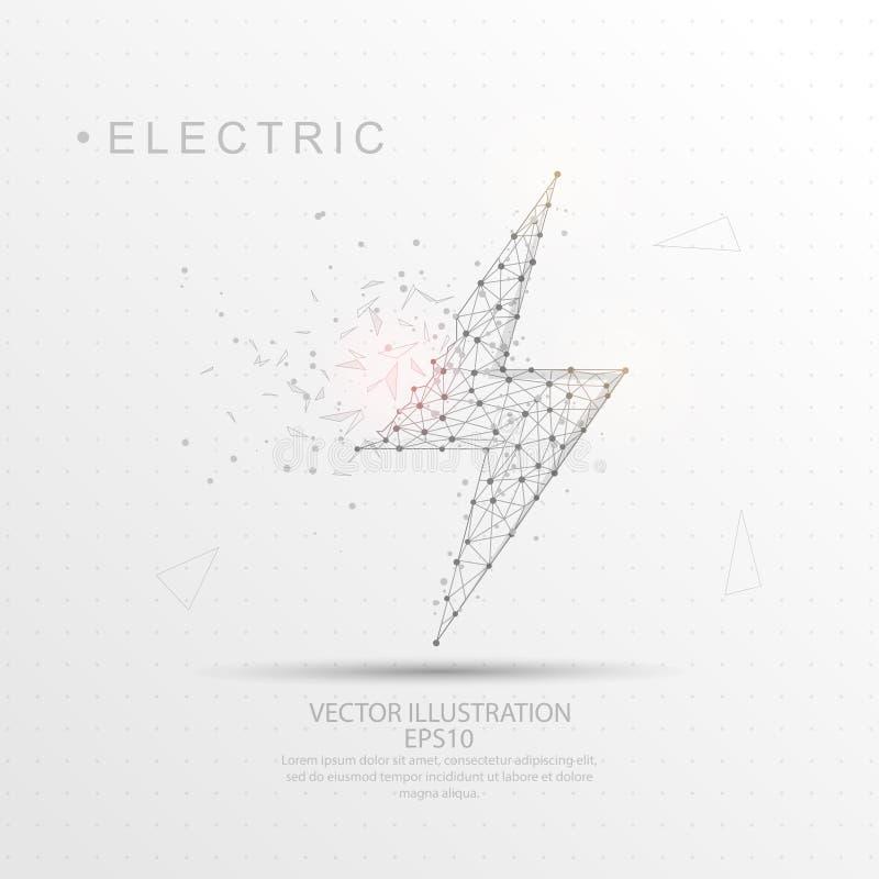 Elektrisk ram för tråd för blixtform digitalt dragen låg poly royaltyfri illustrationer