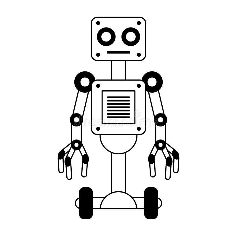 Elektrisk robotsymbolstecknad film som isoleras i svartvitt royaltyfri illustrationer