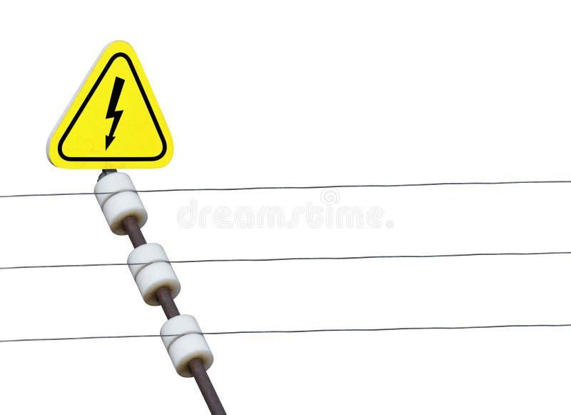 elektrisk spänning för högt tecken för staket royaltyfri foto
