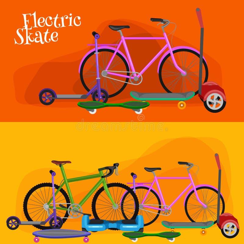 elektrisk sparkcykel, en och två-rullad för medelvektor för rörlighet elektrisk illustration, Eco alternativstad vektor illustrationer