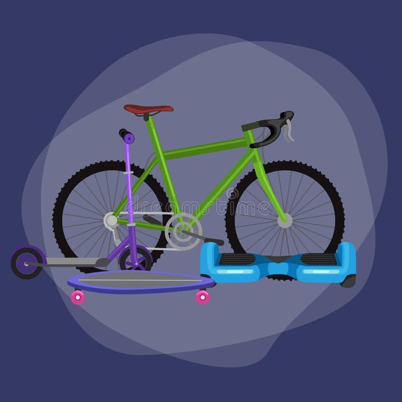 elektrisk sparkcykel, en och två-rullad illustration för rörlighetsmedelvektor, Eco alternativ stadstransport stock illustrationer