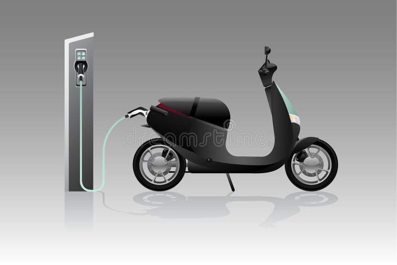 Elektrisk sparkcykel för att dela royaltyfri illustrationer