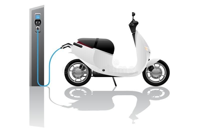 Elektrisk sparkcykel för att dela stock illustrationer
