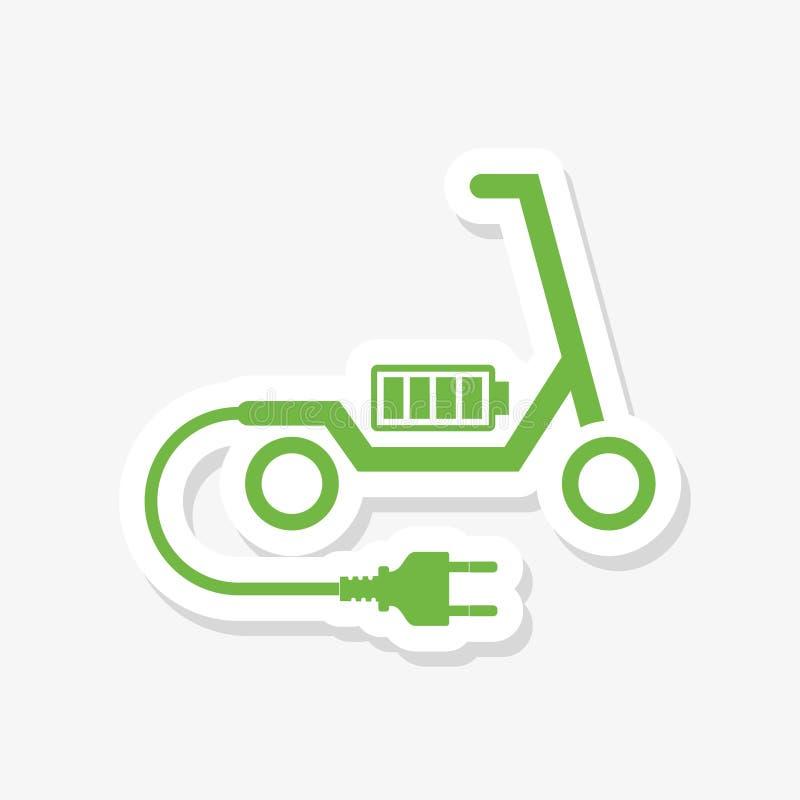 Elektrisk sparkcykel med batteriet i plattformen stock illustrationer