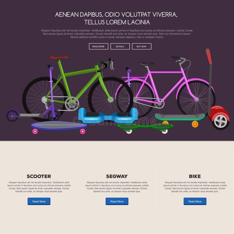 elektrisk sparkcykel med maktbatteriet, ett och denrullade för medelvektor för rörlighet elektriska illustrationen, Eco stock illustrationer