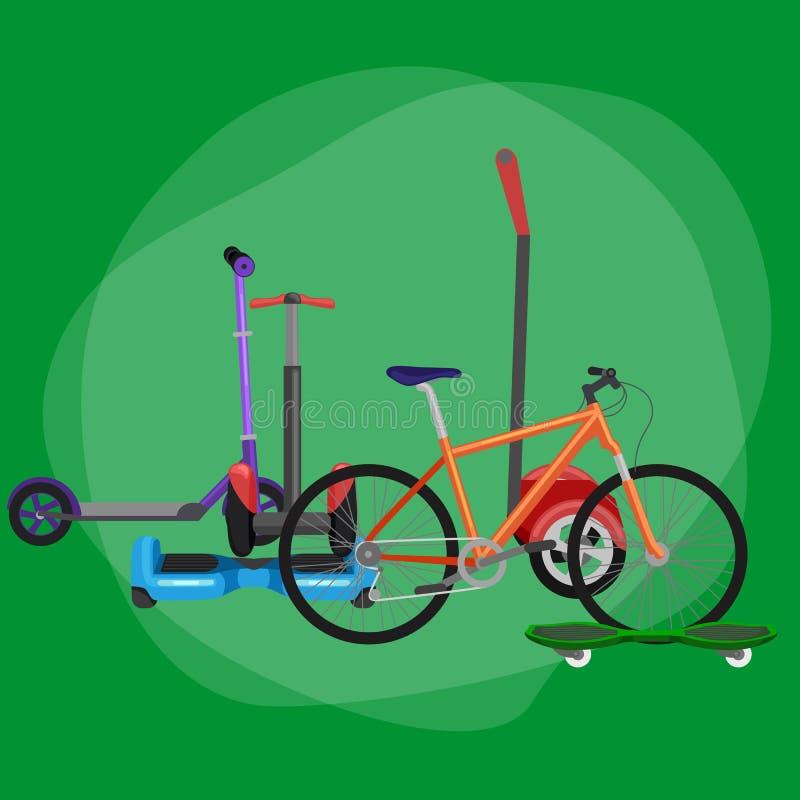 elektrisk sparkcykel med maktbatteriet, ett och denrullade för medelvektor för rörlighet elektriska illustrationen, Eco vektor illustrationer