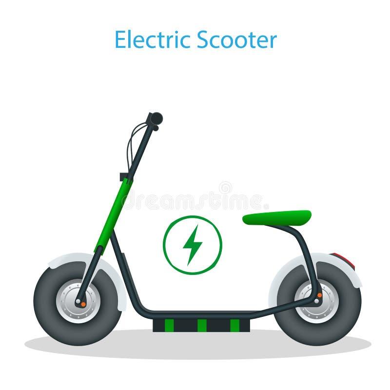 Elektrisk sparkcykel med platsen på vägen Elektriskt sparkcykeltrans. som du kan hyra f?r en snabb ritt Eco stad vektor illustrationer