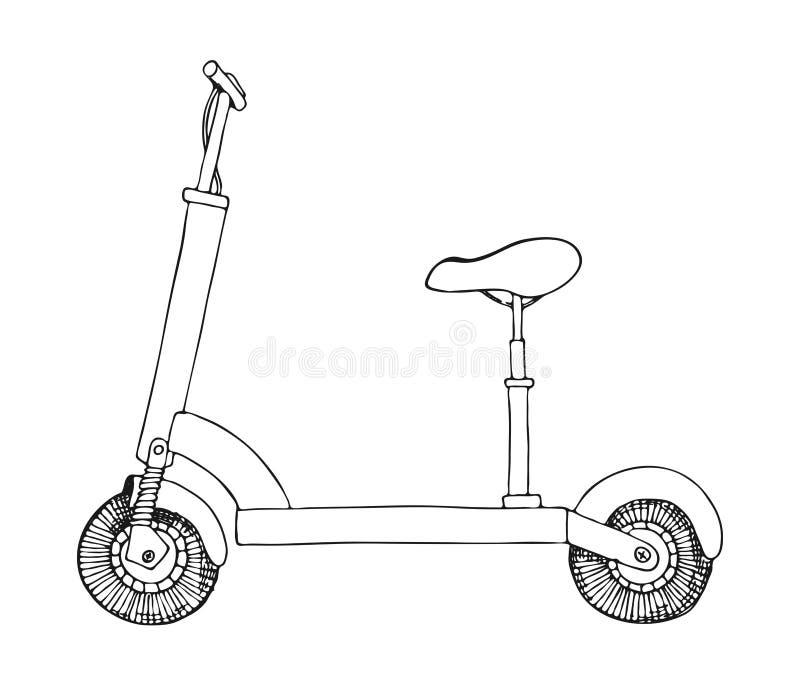 Elektrisk sparkcykel som isoleras på vit bakgrund Vektorillustrati vektor illustrationer