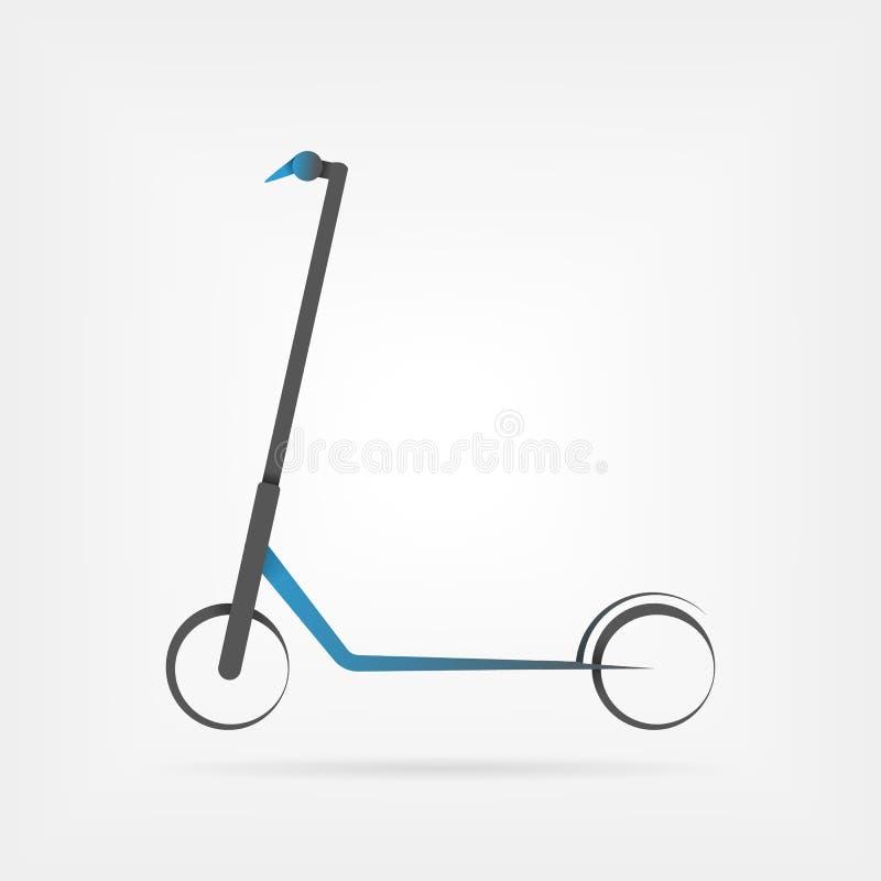 Elektrisk sparkcykel som isoleras p? vit bakgrund Eco alternativt transportbegrepp i blå stil stock illustrationer