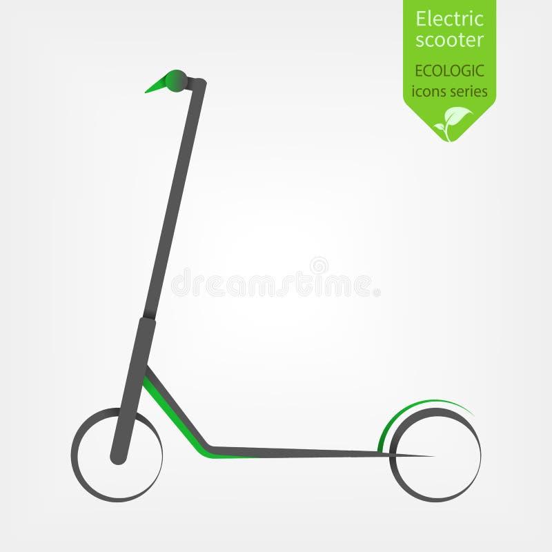 Elektrisk sparkcykel som isoleras p? vit bakgrund Eco alternativt transportbegrepp i grön stil vektor illustrationer