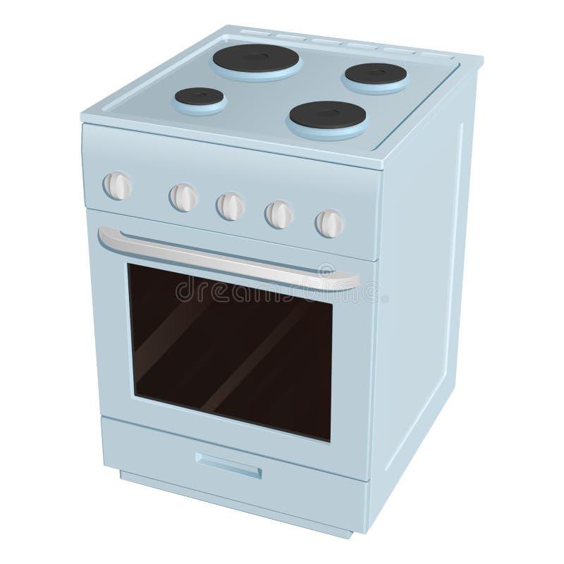 Elektrisk spis med fyra gasbrännare av det olika formatet och ugnen, blått emaljerat vektor illustrationer