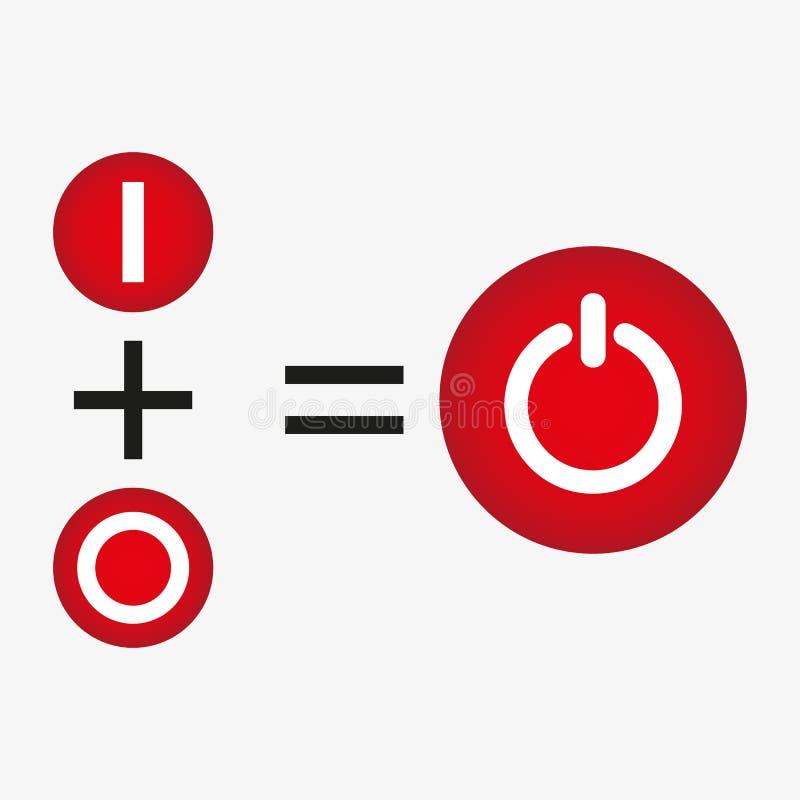 Elektrisk strömbrytare för röd PC, av position, realistiskt objekt för vektor 3d, illustration av elektrisk utrustning på vit bak vektor illustrationer