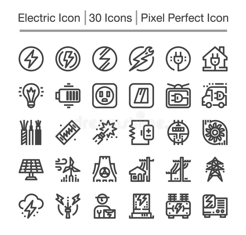 Elektrisk symbol vektor illustrationer