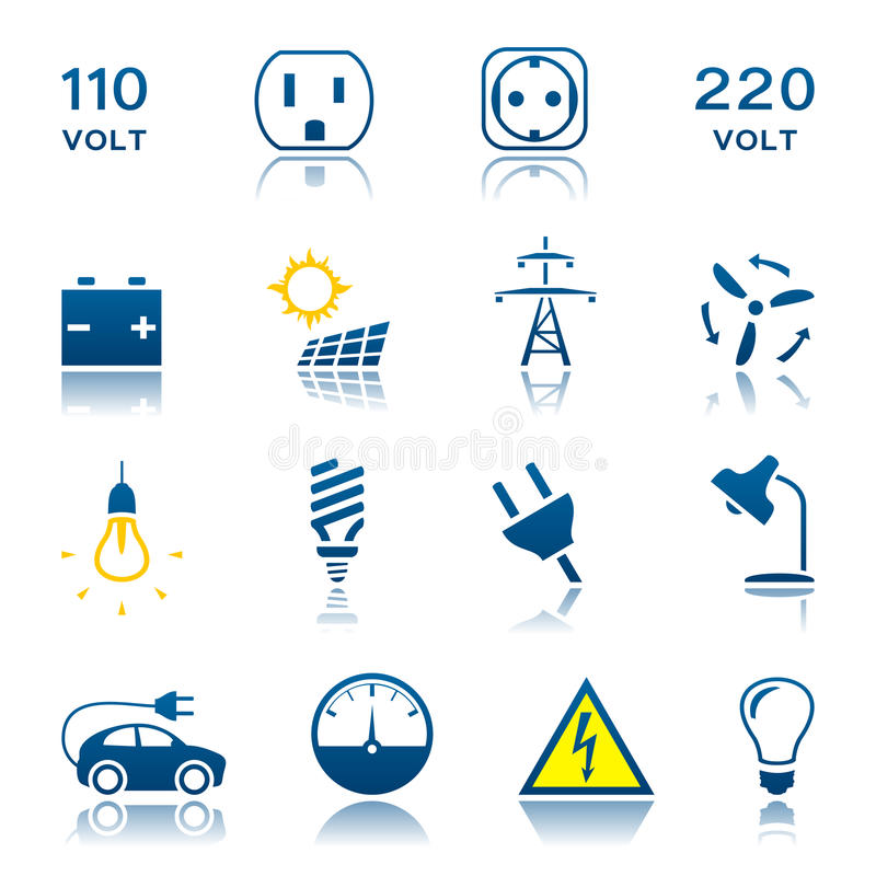Elektrisk symbolsuppsättning vektor illustrationer