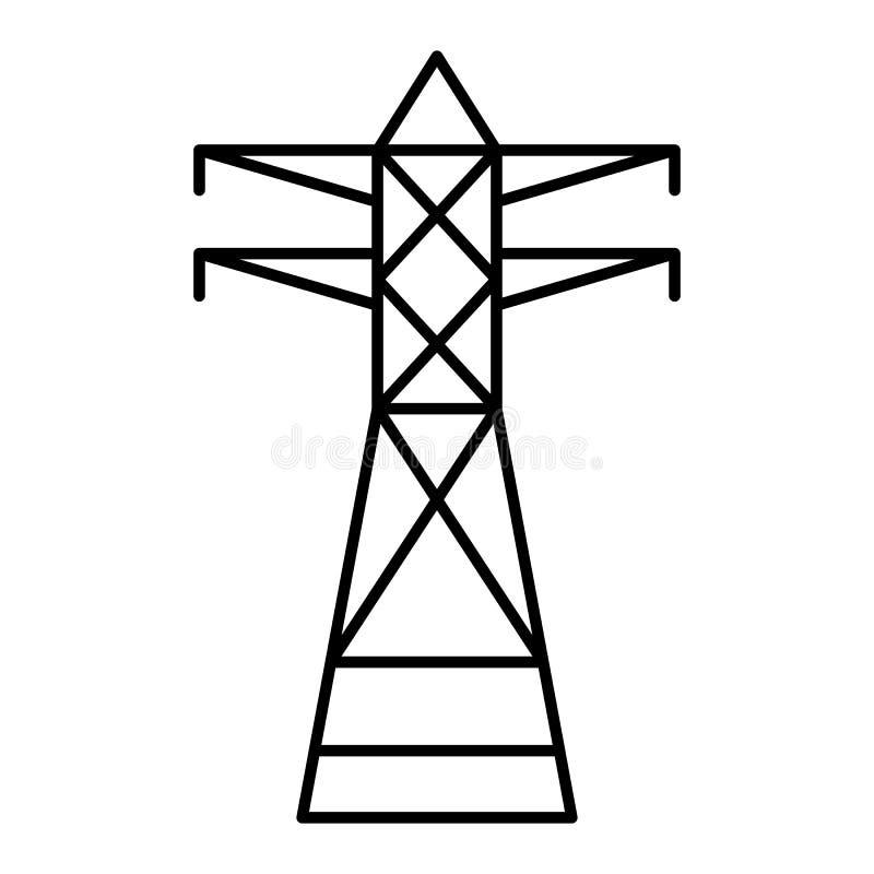 Elektrisk tornsymbol för telefon, översiktsstil vektor illustrationer