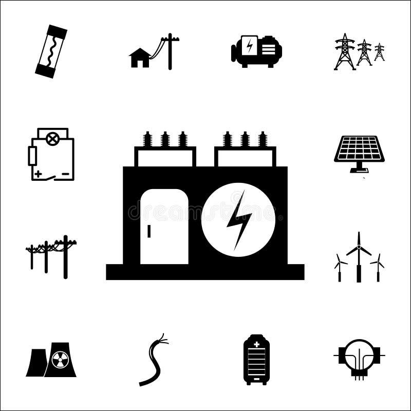 Elektrisk transformatorsymbol Uppsättning av energisymboler Högvärdiga kvalitets- symboler för grafisk design Tecken och symbolsa royaltyfri illustrationer