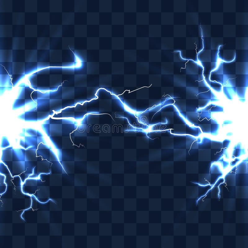 Elektrisk urladdning med blixtstrålen som isoleras på rutig genomskinlig bakgrundsvektorillustration royaltyfri illustrationer