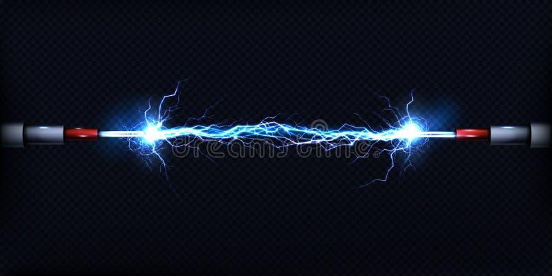 Elektrisk urladdning mellan vektorn för maktkablar vektor illustrationer