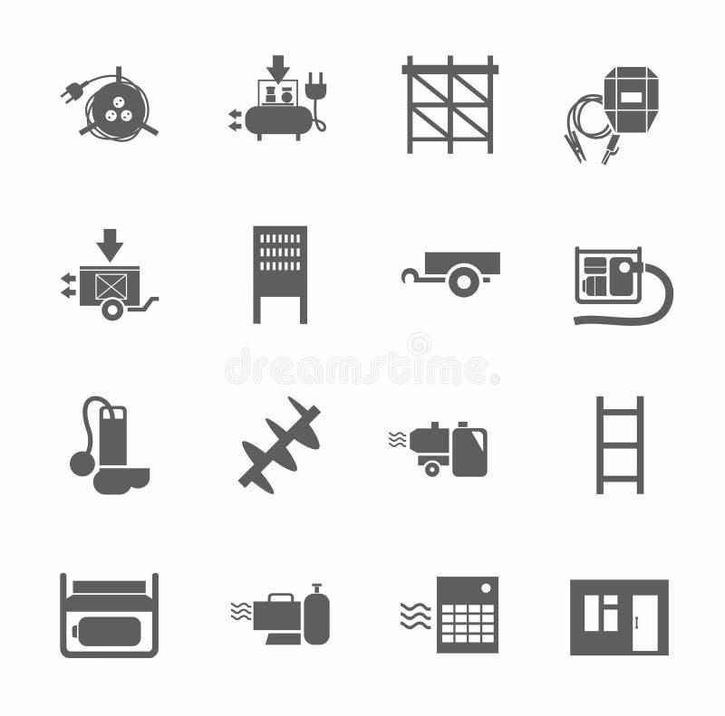 Elektrisk utrustning och konstruktionsutrustning, singel-färg symboler stock illustrationer