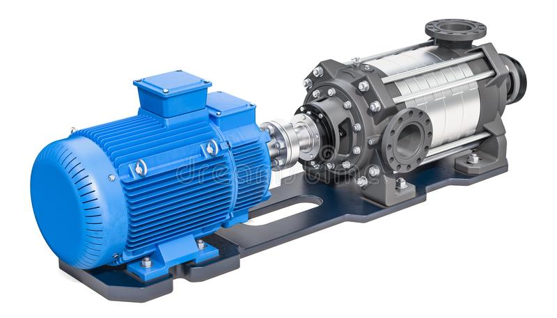 Elektrisk vattenpump, horisontalmultistage centrifugal pump 3d stock illustrationer