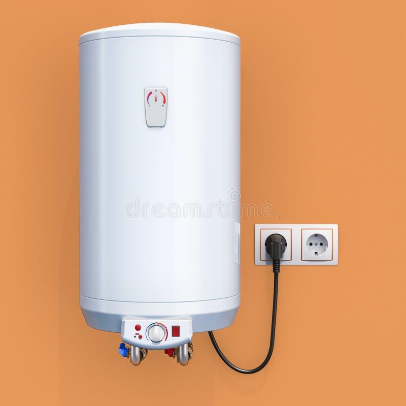 Elektrisk vattenvärmeapparat för vit behållare i inre, tolkning 3D vektor illustrationer