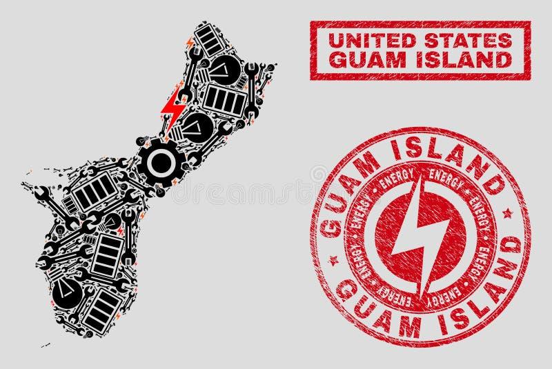 Elektriska översikt för collageGuam ö och snöflingor och texturerade skyddsremsor vektor illustrationer