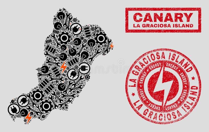 Elektriska översikt för collageLaGraciosa ö och snöflingor och nödlägeskyddsremsor royaltyfri illustrationer