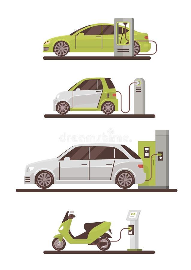 Elektriska bilar och sparkcyklar på för Eco för uppladdningsstation uppsättningen den vänliga medel stock illustrationer