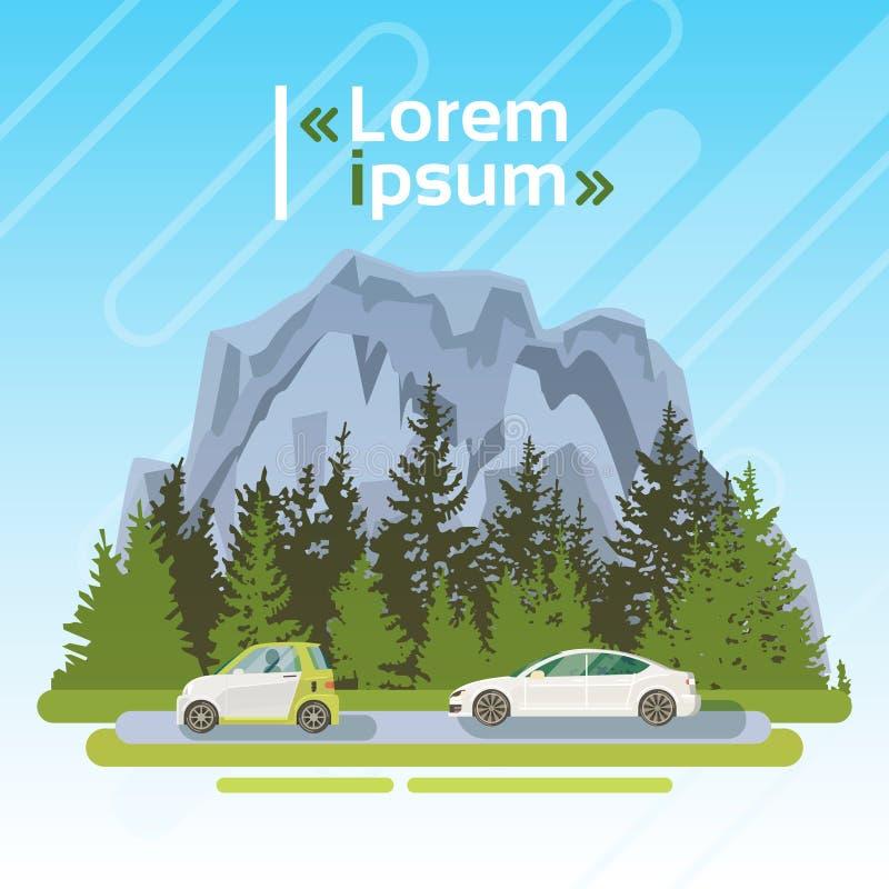 Elektriska bilar på vägen över bergsommarlandskapet Forest Ecological Friendly Transport vektor illustrationer