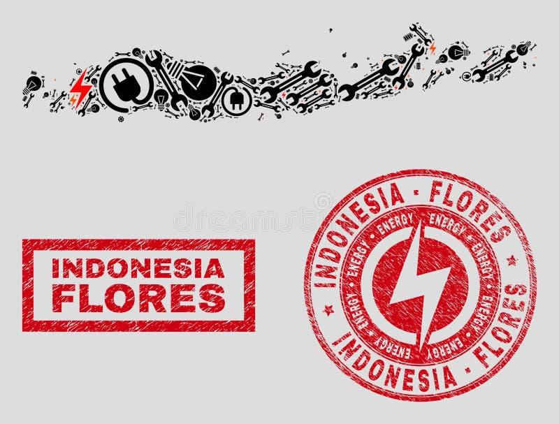 Elektriska collageFlores öar av den Indonesien översikten och snö och Grungeskyddsremsor stock illustrationer
