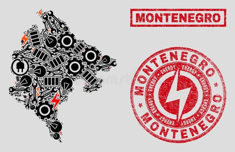 Elektriska collageMontenegro översikt och snöflingor och nödlägestämplar royaltyfri illustrationer