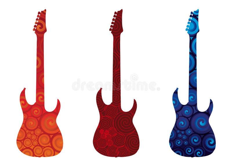 elektriska gitarrer stock illustrationer
