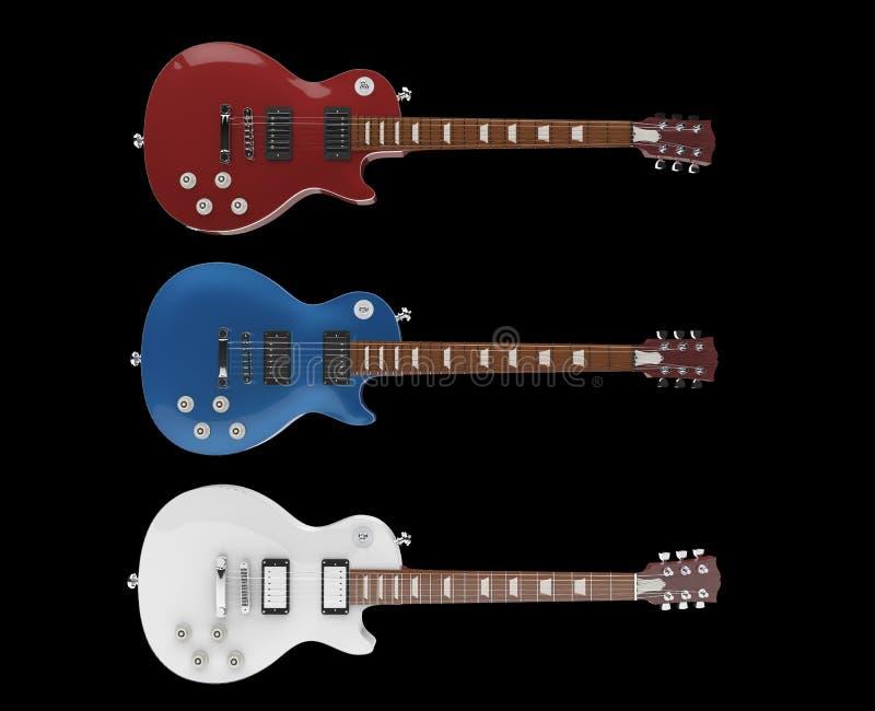 elektriska gitarrer tre royaltyfri illustrationer