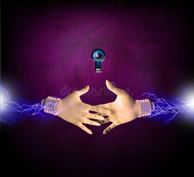 elektriska händer royaltyfri illustrationer