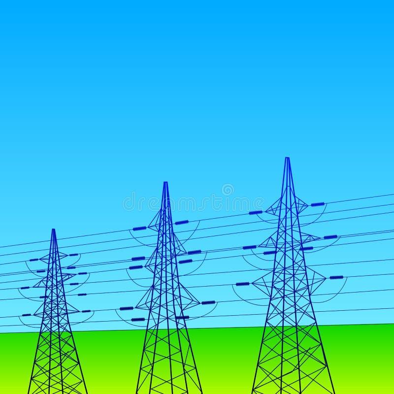 Elektriska linjer och pyloner med blå himmel royaltyfri illustrationer