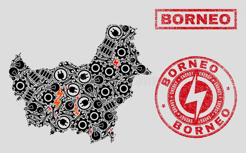 Elektriska mosaiska Borneo översikt och snöflingor och skrapade skyddsremsor vektor illustrationer