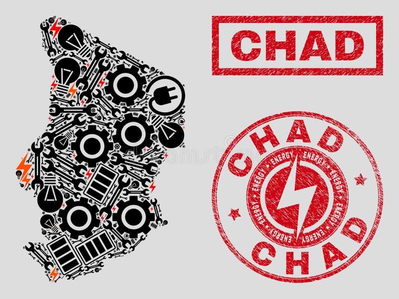Elektriska mosaiska Chad Map och snöflingor och Grungestämpelskyddsremsor vektor illustrationer