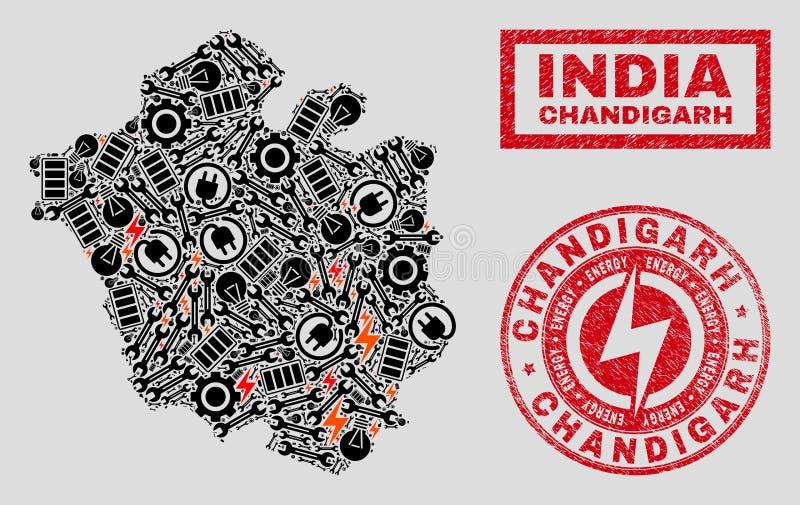 Elektriska mosaiska Chandigarh stadsöversikt och snöflingor och texturerade stämplar vektor illustrationer