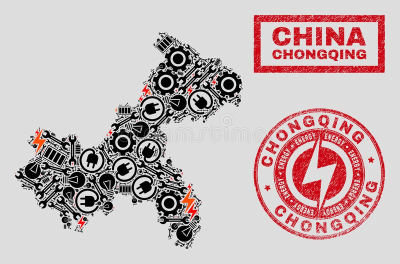 Elektriska mosaiska Chongqing City Map och snöflingor och skrapade stämpelskyddsremsor vektor illustrationer