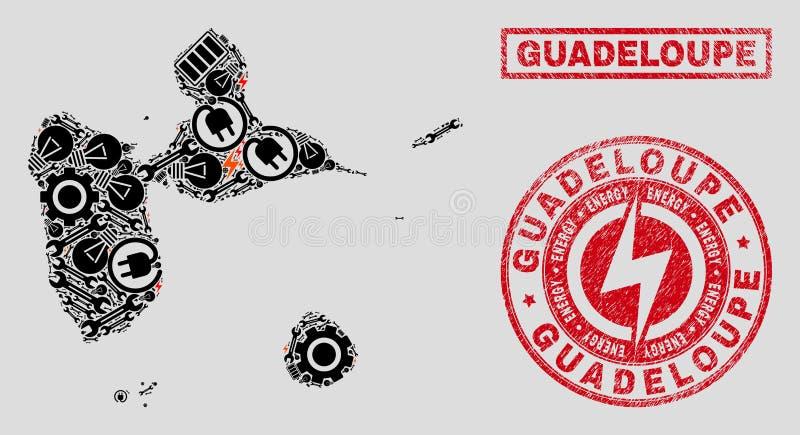 Elektriska mosaiska Guadeloupe översikt och snöflingor och texturerade skyddsremsor vektor illustrationer